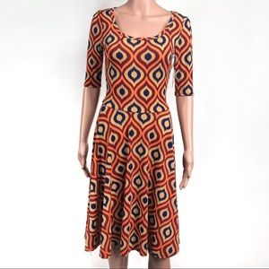Lularoe Orange Multiprint Midi Dress Size XS New
